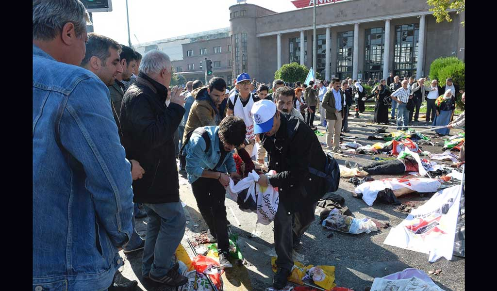 twin bomb blast in turkish railway station,killing 95 and 246 injured